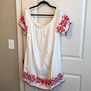 White off the shoulder dress with red embroidery